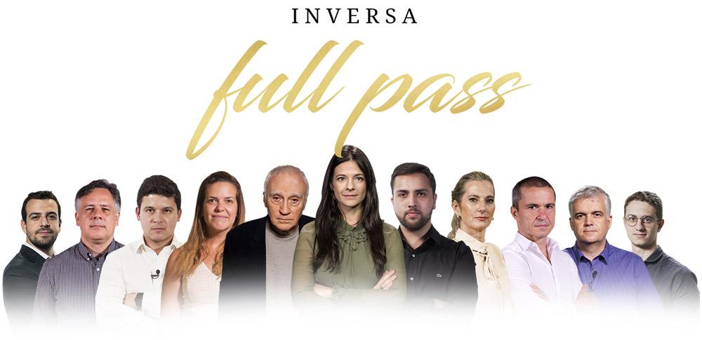 Logo da Inversa Full Pass com todos os gurus de investimentos.