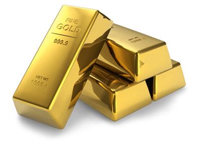 Barras de ouro empilhadas uma a outra